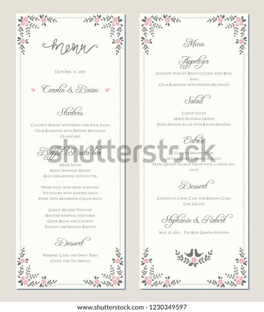 Wedding Menu Template Vector Illustration Stock Vector Royalty Free 1230349597