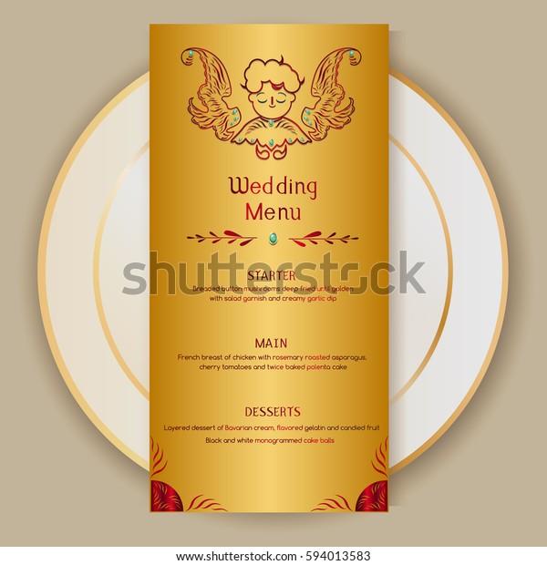 Wedding Menu Templates Cupid Elementsgold Diamondsvector Stock Vector Royalty Free 594013583