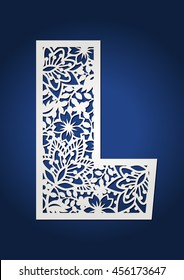 Wedding monogram capital letter L with floral pattern. May be used for laser cutting. Secret garden alphabet.