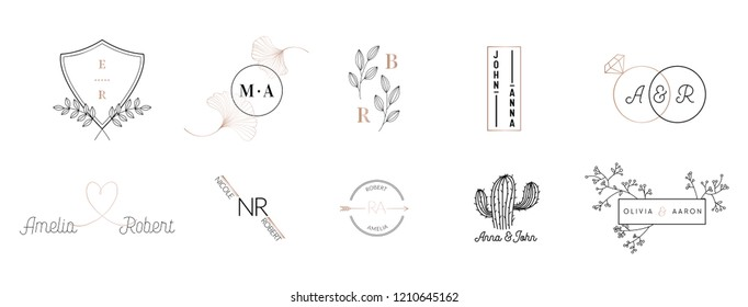 Wedding monogram logos collection, hand drawn modern minimalistic and floral templates for Invitation cards, Save the Date, elegant identity for restaurant, boutique, cafe in vector