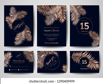 Wedding Monogram Tropical Palm Leaves Invitation Card, Save the Date Cards Template with Golden Foil Design. Luxury RSVP Layout. Vector Illustration