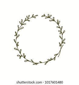 Wedding monogram wreath with line art  leaves.