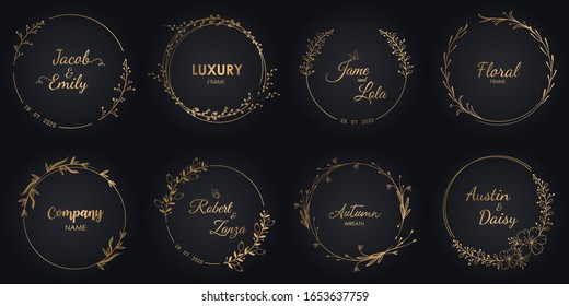 Wedding monograms and floral border,  Luxury design for invitations.