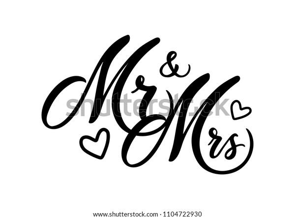 стоковая векторная графика Wedding Mr Mrs Word Art Vector