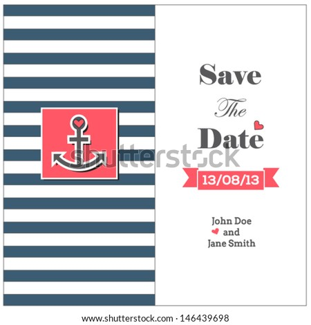 wedding nautical invitation card anchor stock vector royalty free