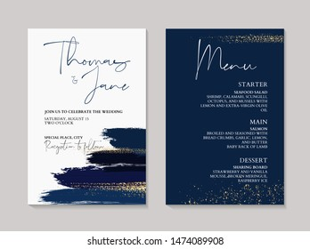 Wedding navy grunge splash invitation cards with Luxury gold and indigo marble texture background. Abstract ocean style vector design template.