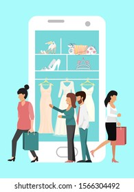 Wedding online shopping vector illustration. Woman preparing to wed, buying dress online. Wedding internet shop for brides.