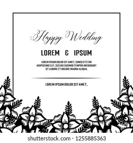Wedding ornament concept with flowers vector art