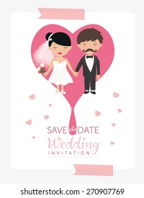 Wedding ornaments and decorative elements. Bride and groom. Wedding Party vector illustration.