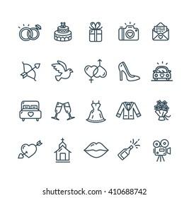 Wedding Outline Black Icon Set. Vector illustration