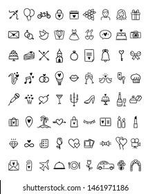 Wedding outline icon set on white background. Hand drawn vector wedding celebration and honey moon illustrations. Cute love symbols