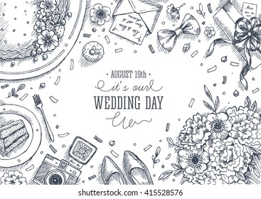 Wedding party background. Linear graphic. Top view vintage illustration. Vector illustration