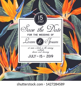 Wedding or party invitation template with tropical flowers - Strelitzia, South African plant, called crane flower or bird of paradise. Save the Date card with botanical design in realistic style.