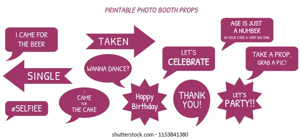wedding, party  photo booth prop design with text for him/her. vector eps10 prop design.