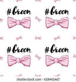 Wedding patches illustration, seamless pattern with bow tie and groom hashtag. Vector fashion backdrop in watercolor style, isolated elements on white background.