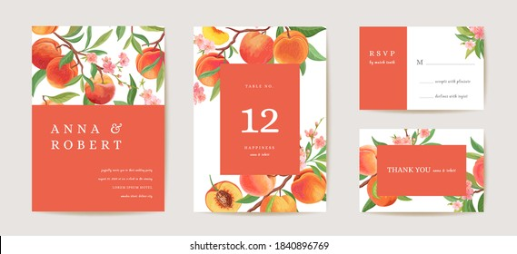 Wedding peach invitation card, vintage botanical Save the Date set. Design template of fruits, flowers and leaves, blossom illustration. Vector trendy cover, pastel graphic poster, brochure