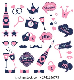 Wedding photo booth prop set. Funny groom and bride accessory stickers, bow tie, rings, speech bubbles, flute, moustache. Flat vector illustrations for marriage concept, party invitations design