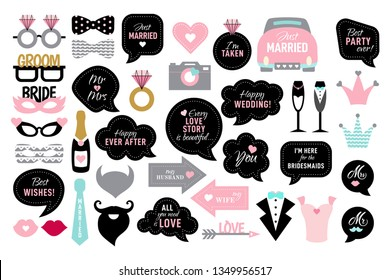Wedding photo booth props. Bride and groom party .  Vector photobooth set - lips, glasses, bow, arrow, ring, cake, heart. Speech bubble with quotes for marriage. Happy ever after, mr, mrs, love you.