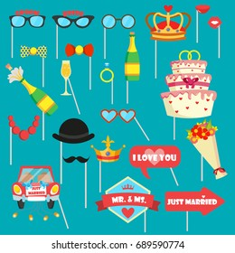 Wedding photo booth props with glasses, hats, just married sign, car, cake, crown, lips etc. Icons set