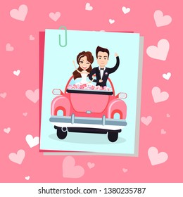 Wedding photo decorated by pink hearts, happy newlywed standing in holiday car with flowers, groom holding bride, valentine or romantic day vector. Newlywed go to honeymoon in red car