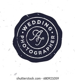 Wedding photographer logo template in vintage style with grunge texture.