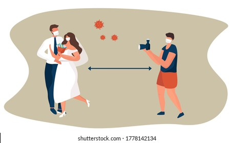 Wedding Photographer Photographs Bride and Groom During Coronavirus in Mask.Wedding in Quarantine and Social Distance. Groom and Bride Wearing Wedding Dress in Mask.Flat Vector Illustration