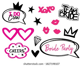 Wedding pink photo booth props isolated vector illustration on white background. Bride team party photo set for t-shirt print. Bachelorette party logo. Speach bridal props collection.