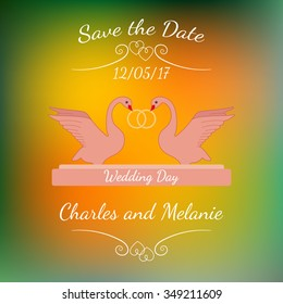 Wedding pink swans hold gold rings over abstract colorful blurred vector background. Element for wedding designs, website, logo, and other. Greeting card template, Save the Date.