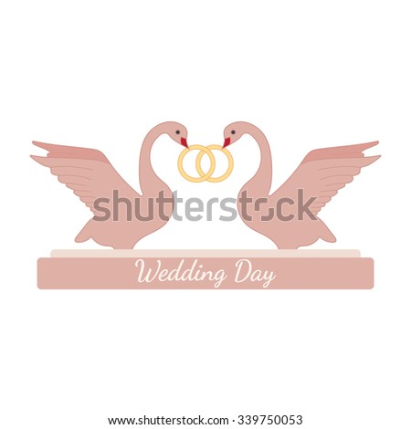 Wedding Pink Swans Hold Gold Rings Stock Vector (Royalty Free ...