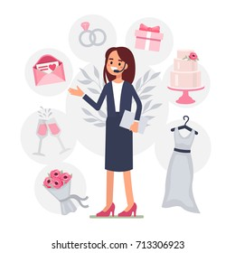 Wedding planner provides services. Flat style vector illustration.