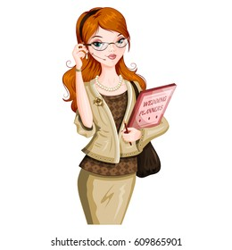 Wedding planner woman. Isolated woman. Vector character.