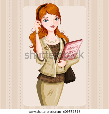 Wedding planner woman. Orange hair. Beautiful Vector woman.