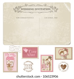 Wedding Postcard and Postage Stamps. For Design, Invitation, Congratulation, Scrapbook. Vector