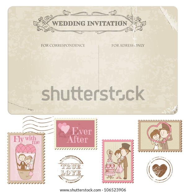 Wedding Postcard Postage Stamps Design Invitation Stock