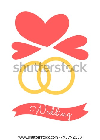 Wedding Poster Rings Symbols Eternal Love Stock Vector Royalty Free