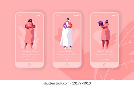 Wedding Preparation Bachelorette Party Mobile App Page Onboard Screen Set. Happy Bride with Flower Bouquet Wear White Dress. Bridesmaid in Pink Concept for Website. Flat Cartoon Vector Illustration