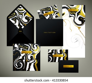 Wedding print set. Invitation card, menu and envelope vector templates with white and glittering gold liquid acrylic drips on black background. Paint vortexes and whirl texture with marble imitation.