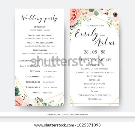 wedding program party ceremony card design stock vector royalty