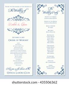Wedding program template. Vector illustration.