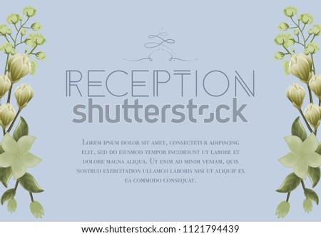 Wedding Reception Card Design Snowdrops Lily Stock Vector Royalty