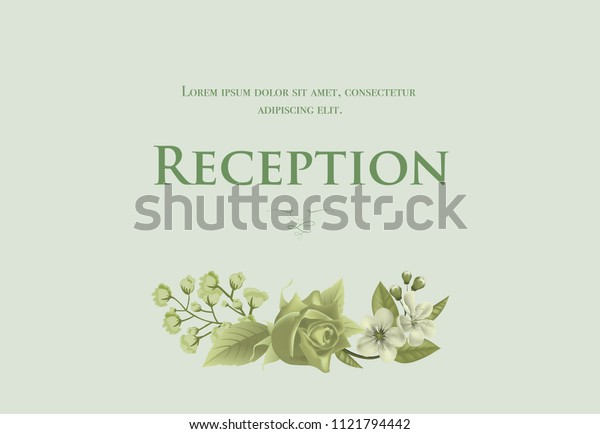 Wedding reception card template with blossom, rose and lily of valley on light green background. Text can be used for invitation cards, postcards, save the date design