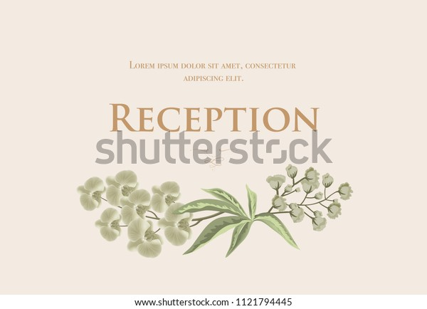 Wedding reception card template with iris and lily of valley on beige background. Text can be used for invitation cards, postcards, save the date design