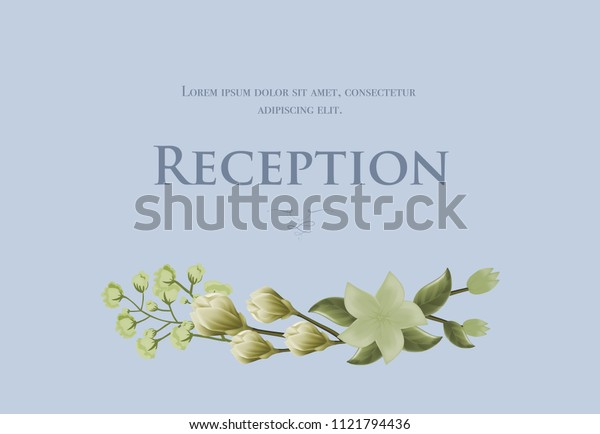 Wedding reception card template with snowdrops and lily on blue background. Text can be used for invitation cards, postcards, save the date design
