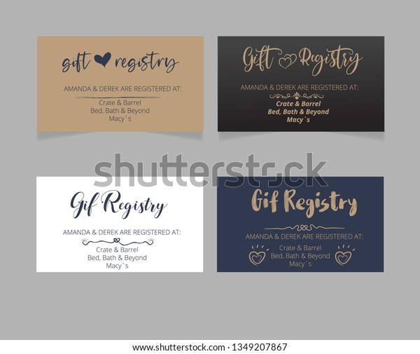 Wedding Registry Card Template Stock Vector Royalty Free