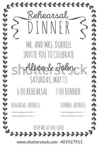 wedding rehearsal dinner invitation template handdrawn stock vector