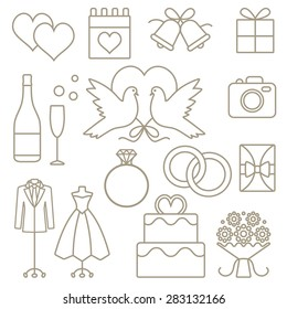 Wedding related vector outline icons set