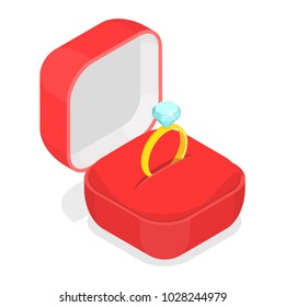 Wedding ring in the box isometric vector illustration.
