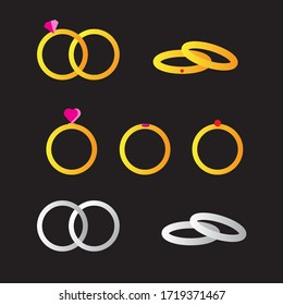 Wedding Ring Flat Icon Vector Illustration Set