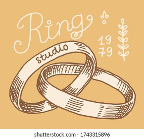 Wedding ring in a gift box label. Women's jewelry shop badge. Luxury accessories, ladies fashion. Vintage Retro typography or signboard. Drawn engraved sketch.
