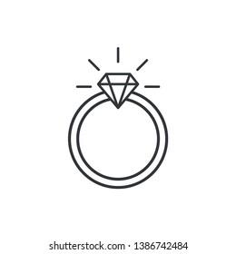 Wedding Ring Icon Flat Vector